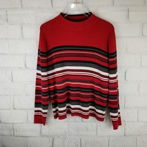 Karen Scott Red Black White Sweater. Size L